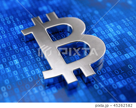 Metall bitcoin sign on digital code background 45262582