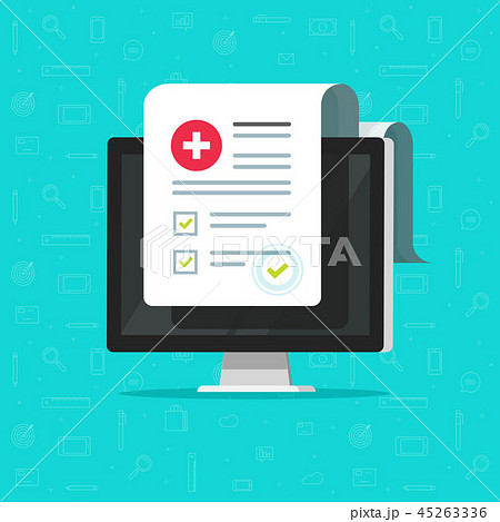 Computer and medical form list, results data and approved check mark vector, electronic clinical 45263336