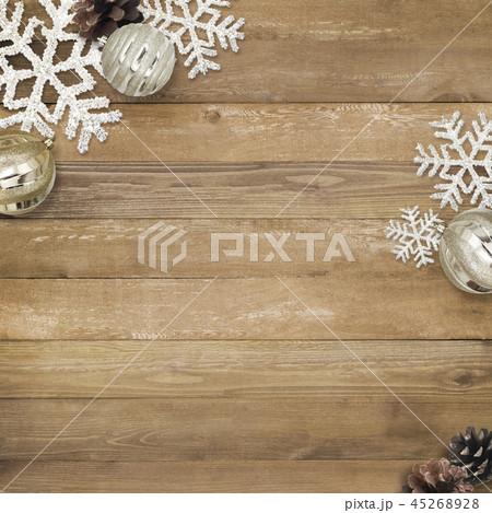 背景-木目-クリスマス-飾り 45268928