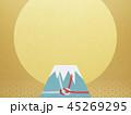 和-背景-富士山-日の出-和風-和柄-正月-年賀-水引 45269295