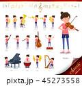 女性 人物 楽器のイラスト 45273558