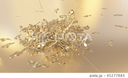 3D rendering of a musical treble clef and falling 45277683