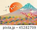 富士山 初日の出 鶴のイラスト 45282709