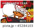 2019 年賀状_猪鹿蝶_縁起物ハガキ横 45284103