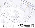Interior design apartments - top view. Paper model 45290013