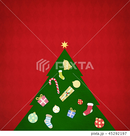 背景-クリスマス-ツリー-飾り-赤 45292197