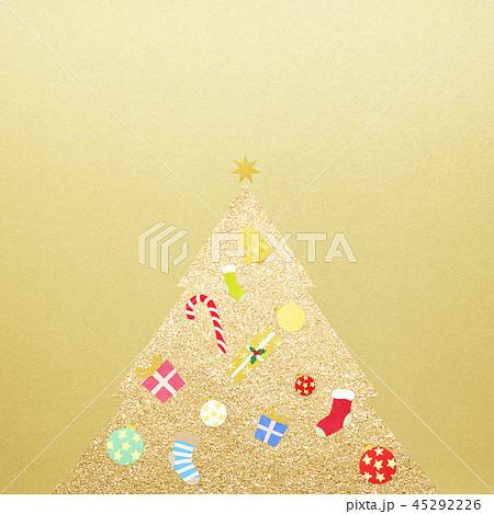 背景-クリスマス-ツリー-飾り-ゴールド 45292226