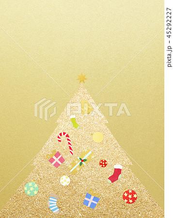 背景-クリスマス-ツリー-飾り-ゴールド 45292227