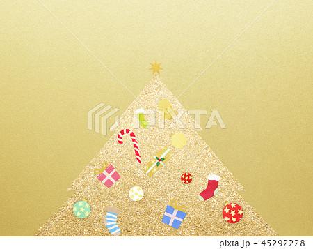 背景-クリスマス-ツリー-飾り-ゴールド 45292228