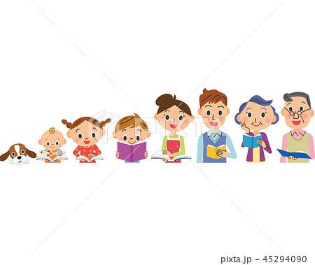 読書をする三世代家族 45294090