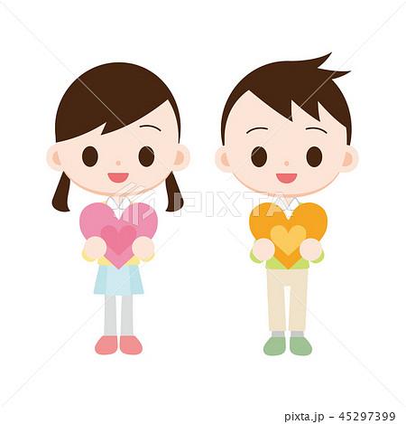 ハートを抱える子供 男の子女の子 45297399