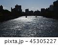 元安川 広島 河川 広島デルタ 灯籠流し 快晴 コピースペース 中国地方  45305227