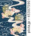 和柄と波と桜の背景素材 45307590
