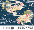 和柄と波と桜の背景素材 45307758