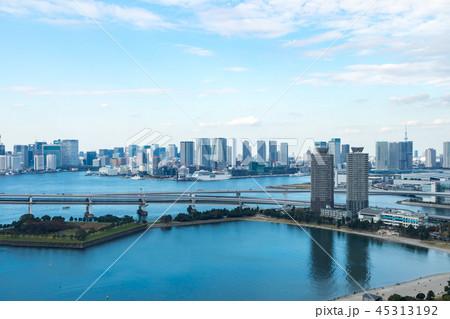 (東京都-都市風景)展望台から見るレインボーブリッジと湾岸風景8 45313192