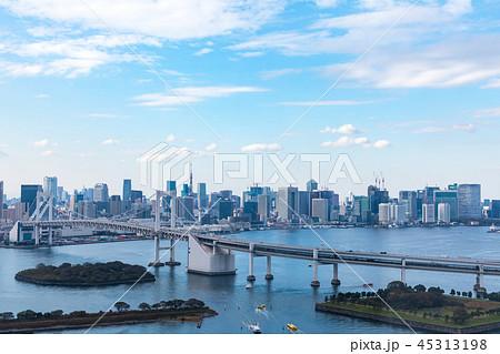 (東京都-都市風景)展望台から見るレインボーブリッジと湾岸風景2 45313198