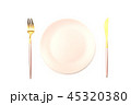 Pink plate and cutlery isolated 45320380