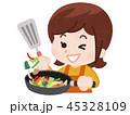 料理をする女性 45328109