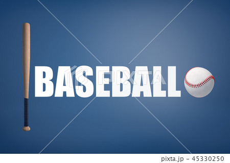 3d rendering of wooden baseball bat and a white ball stand on both sides from a large word Baseball. 45330250