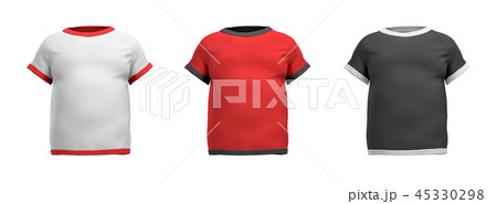 3d rendering of three shirts shaped as a male torso from back view on a white background. 45330298