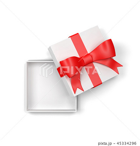Opened gift box with colourful bow and ribbon 45334296