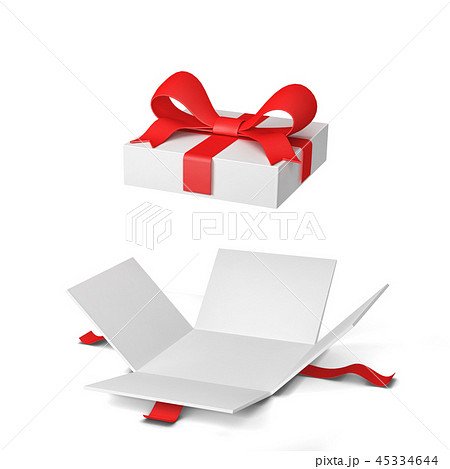 Opened gift box with colourful bow and ribbon 45334644