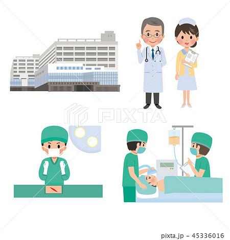 病院 手術 大学病院 イラスト セット 45336016
