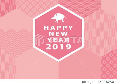 2019年亥年 和柄の年賀状テンプレート 45338258