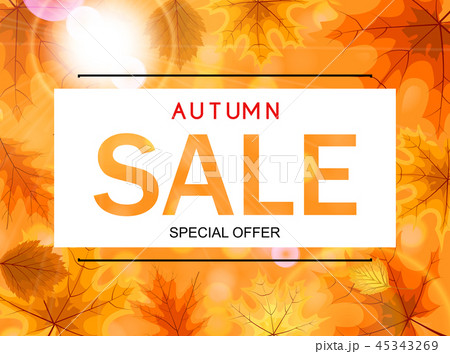 Abstract Vector Illustration Autumn Sale Background with Falling Autumn Leaves 45343269