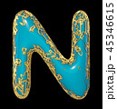 Golden shining metallic 3D with blue paint symbol capital letter N - uppercase isolated on black. 3d 45346615