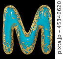 Golden shining metallic 3D with blue paint symbol capital letter M - uppercase isolated on black. 3d 45346620