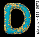 Golden shining metallic 3D with blue paint symbol capital letter D - uppercase isolated on black. 3d 45346673