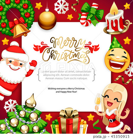 Merry Christmas Background with Copy Space on Red 45350915