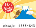 いのししと富士山の年賀状2019-横 45354843
