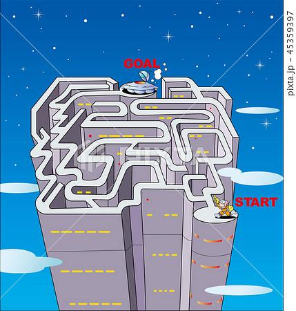 迷路, クイズ, パズル, ゲーム, ビル, UFO, 飛び立つ, 発進, スタート, ゴール, 道, イラスト, コピースペース, 星空, 風景, 星, 宇宙, 夜空, 円盤, 未確認飛行物体, 屋外, 飛ぶ, 建物, 高層ビル, 都会, 離陸, 都市, 出発, ラビリンス, 壁, ベクター