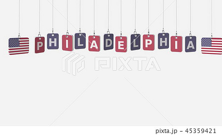 Hanging plates with flags of USA and Philadelphia caption. Conceptual 3D rendering 45359421