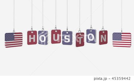 Flags of USA and Houston text on hanging plates. 3D rendering 45359442