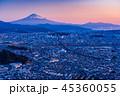 (静岡県)静岡市の街並みと富士山 夜明け 45360055