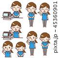 女性 表情セット レジのイラスト 45360901