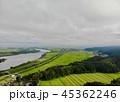 上空から見る田園風景と信濃川 45362246