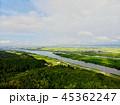 上空から見る田園風景と信濃川 45362247