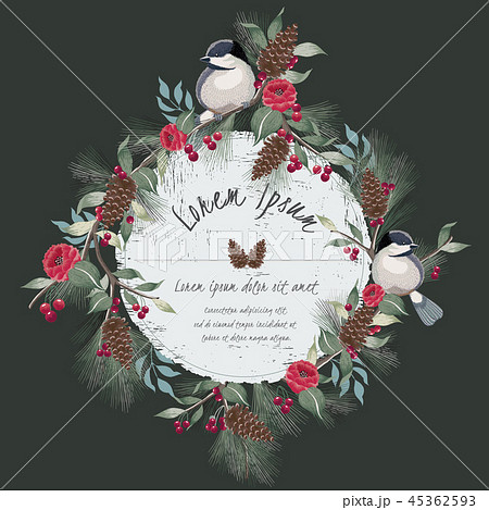 Vector illustration of floral frame with a bird 45362593
