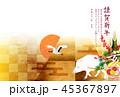 亥 富士山 年賀状 背景  45367897