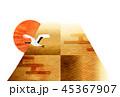 富士山 和紙 年賀状 背景  45367907