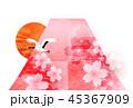 富士山 和紙 年賀状 背景  45367909