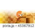 富士山 和紙 年賀状 背景  45367912