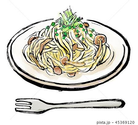 筆描き 食品 きのこパスタ 45369120