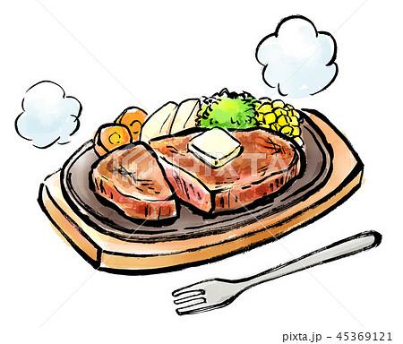 筆描き 食品 ステーキ 45369121