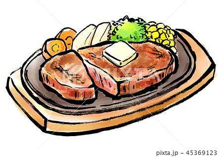 筆描き 食品 ステーキ 45369123