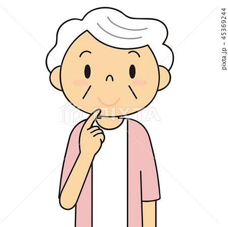 45369244 シニア 女性 考えるおばあちゃん 二頭身